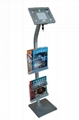 Workstation iPad Kiosk Stand Ipad Bracket Locking Clamshell with magazine rack