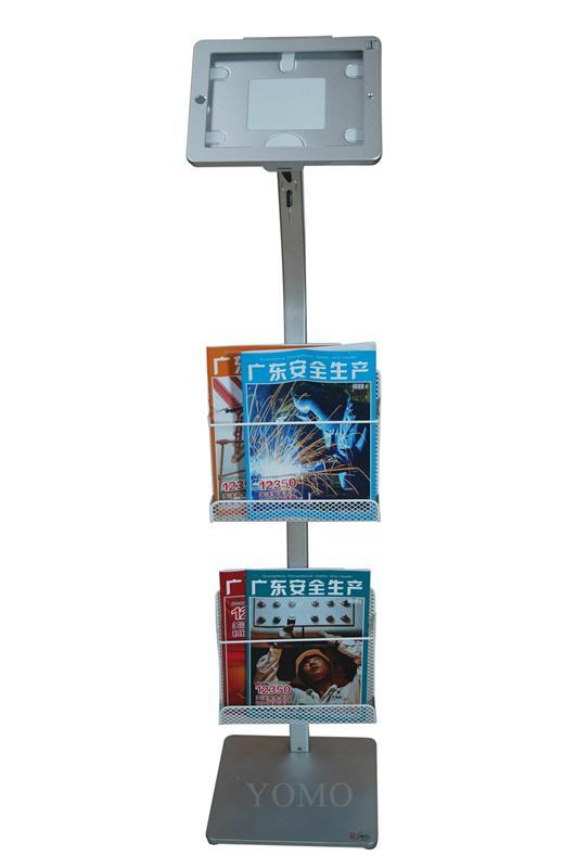 Workstation iPad Kiosk Stand Ipad Bracket Locking Clamshell with magazine rack 1