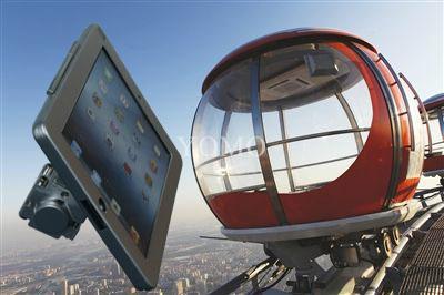 Ipad Brackets/Kiosk Installed on cylinder of the shopping trolley Ferris wheel   1