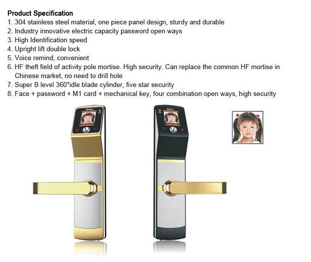 High identification speed Biometric Face Recognition sliding wooden door locks 4