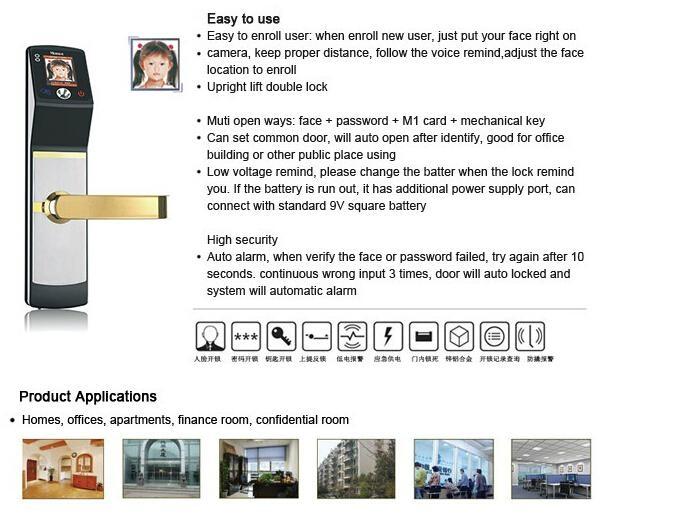 High identification speed Biometric Face Recognition sliding wooden door locks 6