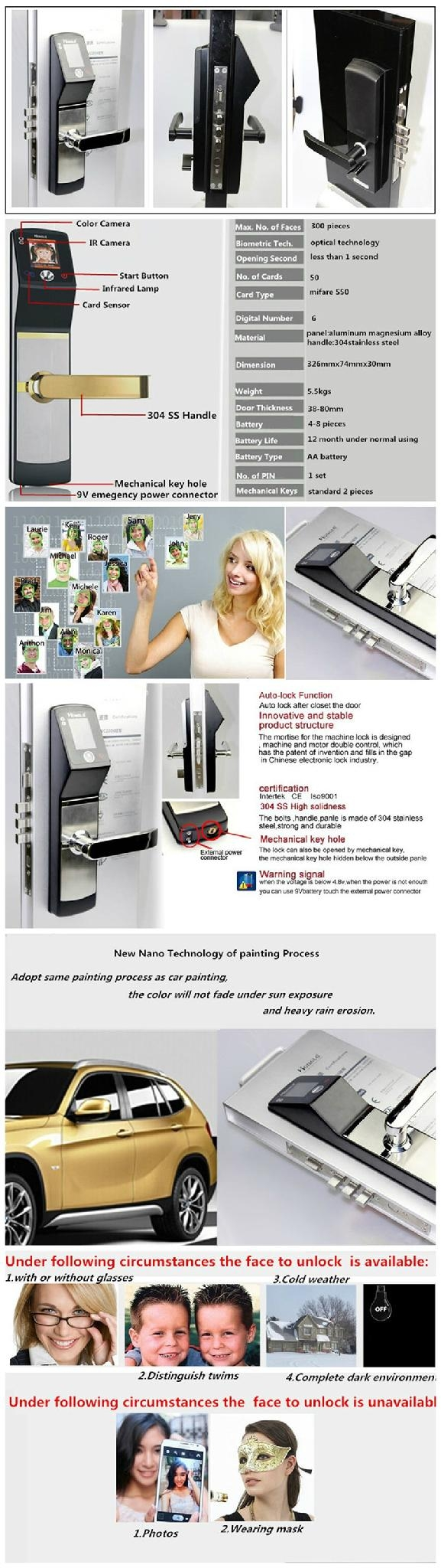 High identification speed Biometric Face Recognition sliding wooden door locks 7