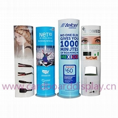cardboard totem standing display for cosmetic prodcut