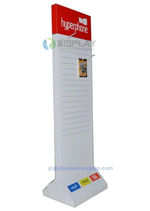 cellphone accessories cardboard hooks floor display 1