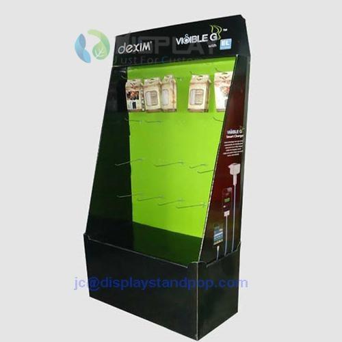 cellphone accessories cardboard hooks floor display 3