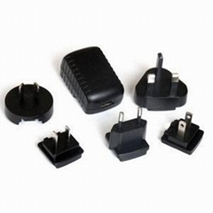 5W USB Charger with exchangeable plugs