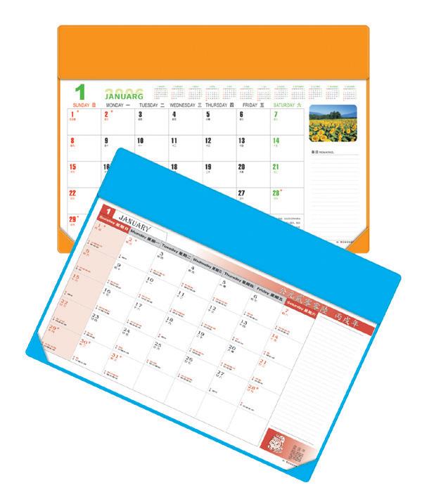 colorful desk writting mat calendar/blotter/table planner