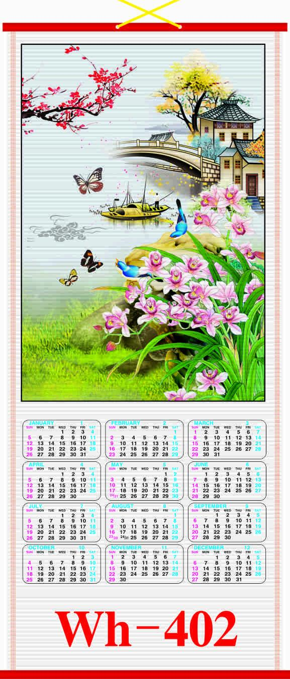 2020 FULL ENGLISH CANE  WALLSCROLL CALENDAR 2