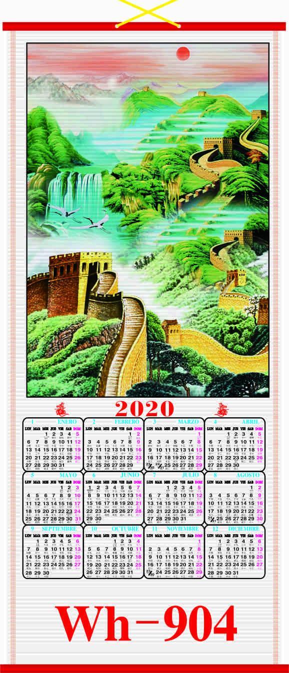 2020 SPANISH CANE  WALLSCROLL CALENDAR 4