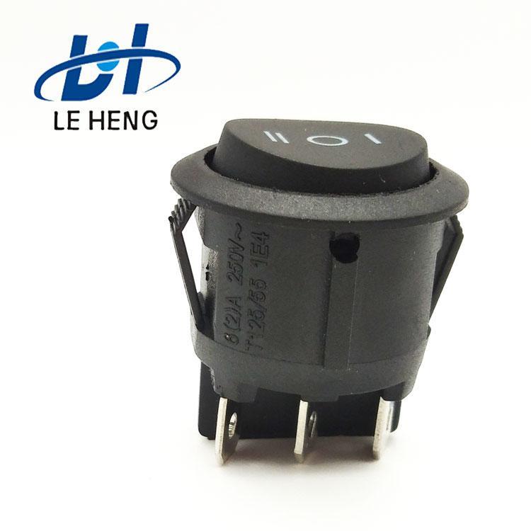 厂家直销KCD1-N六脚三电平全黑板圆船婴儿车电源开关 3