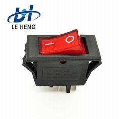 廠家供應KCD3 兩腳三檔帶燈紅色雙卡位按鈕電源開關