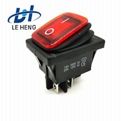 供應KCD4紅色帶燈電源翹板防水開關