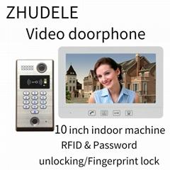 住得乐 可视对讲门铃10.1寸液晶屏 指纹一体机