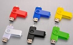 批发手机电脑两用u盘平板双插头8G/16G/32G金属OTG优盘安卓USB闪存盘