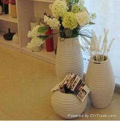 宝齐莱现代简约陶瓷工艺大型落地花瓶组合三件套