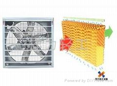 工业厂房通风降温负压风机水帘系统