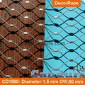 Architectural AISI 316 Ferruled Stainless Steel Diamond Rope Mesh