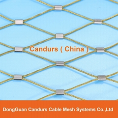 Ferruled Stainless Steel Cable Wire Rope Lion Enclosure Mesh In Zoo