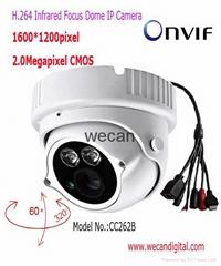 H.264 2Megapixel IR Dome IP Camera with Vari focal lens