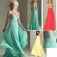 Strapless Beads Evening Dresse Green Red chiffon Bridesmaid dress Prom Gown E229