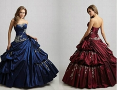 Strapless Applique Beaded Ruffled BlueTaffte Quincenera Dress Ball Gown Q303