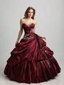Strapless Applique Beaded Ruffled BlueTaffte Quincenera Dress Ball Gown Q303 2
