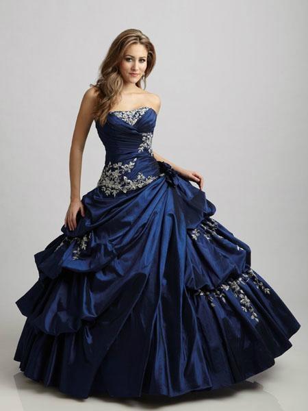 Strapless Applique Beaded Ruffled BlueTaffte Quincenera Dress Ball Gown Q303 4