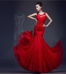 2017 Sheer Wedding Dresses Red Lace Chiffon Mermaid Bridal Evening Gowns P198