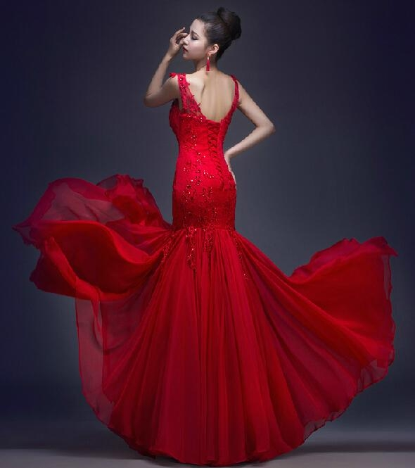 2017 Sheer Wedding Dresses Red Lace Chiffon Mermaid Bridal Evening Gowns P198 2