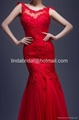 2017 Sheer Wedding Dresses Red Lace Chiffon Mermaid Bridal Evening Gowns P198 3