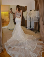 2015 Mermaid Wedding Dresses Sheer Lace Bodice Galiala Bridal Wedding Gowns H157