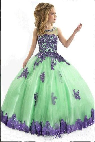 Multi Colors Flower Girl Prom Dresses Lace Edge Girls Pageant Ball Gowns F1487 1