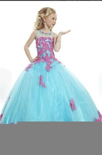 Multi Colors Flower Girl Prom Dresses Lace Edge Girls Pageant Ball Gowns F1487 2