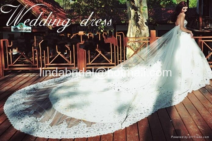 A-line Lace Wedding Dresses Rhinestones Luxury Wedding Gowns  2