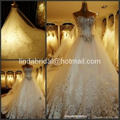 A-line Lace Wedding Dresses Rhinestones Luxury Wedding Gowns