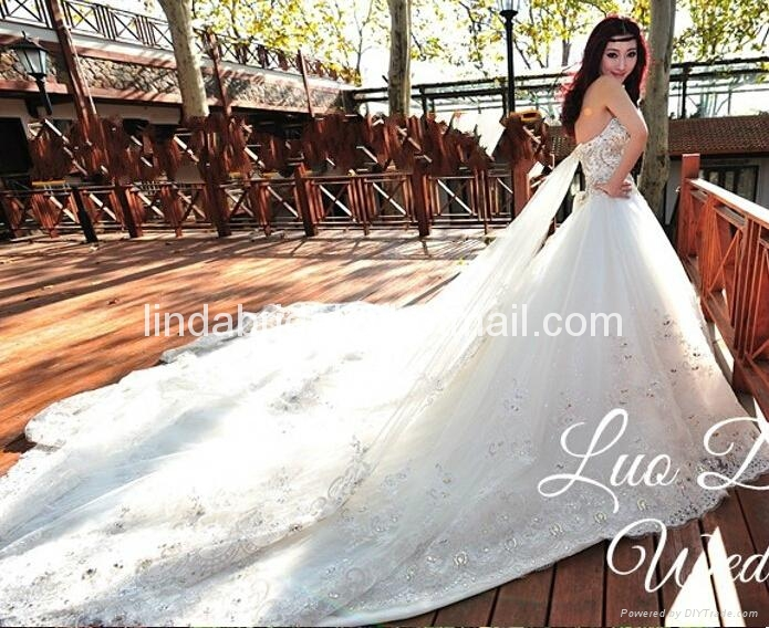 A-line Lace Wedding Dresses Rhinestones Luxury Wedding Gowns  5