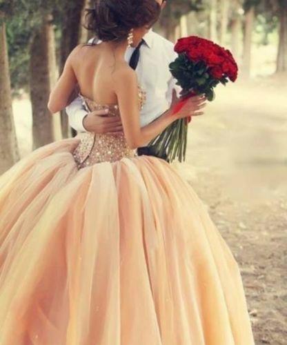 Coral Wedding Dresses Bridal Ball Gown Crystals Quinceanera Dresses BG118 2