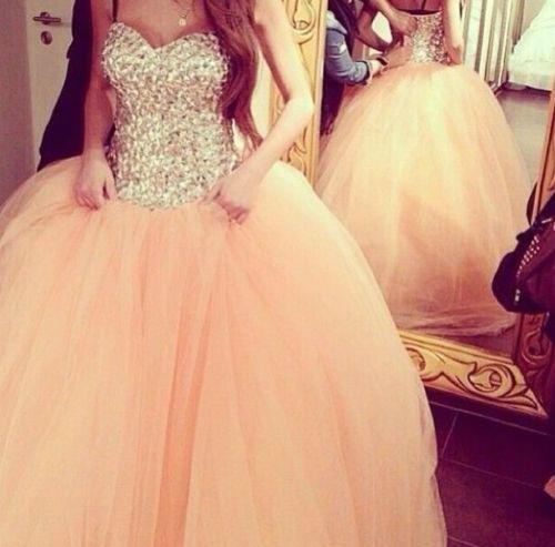 Coral Wedding Dresses Bridal Ball Gown Crystals Quinceanera Dresses BG118 3