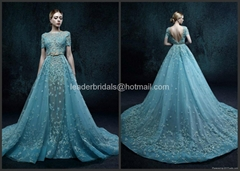 A-line 2017 Prom Dresses Blue Beads Lace Sheer Pageant Party Evening Gowns 2017