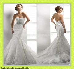 Sweetheart Lace Wedding Gown Mermaid Beads Crystal Bridal Wedding Dress MG03
