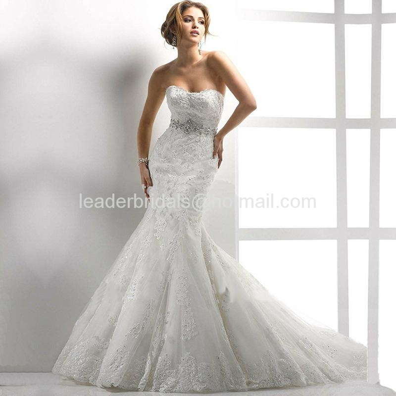 Sweetheart Lace Wedding Gown Mermaid Beads Crystal Bridal Wedding Dress MG03 3