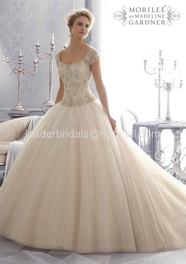 A-line One Shouler White Bridal Gown Mori Lace Tulle Wedding Dress W86 1