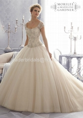 A-line One Shouler White Bridal Gown Mori Lace Tulle Wedding Dress W86