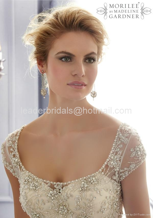 A-line One Shouler White Bridal Gown Mori Lace Tulle Wedding Dress W86 4