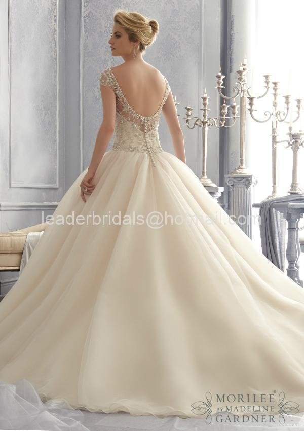 A-line One Shouler White Bridal Gown Mori Lace Tulle Wedding Dress W86 2