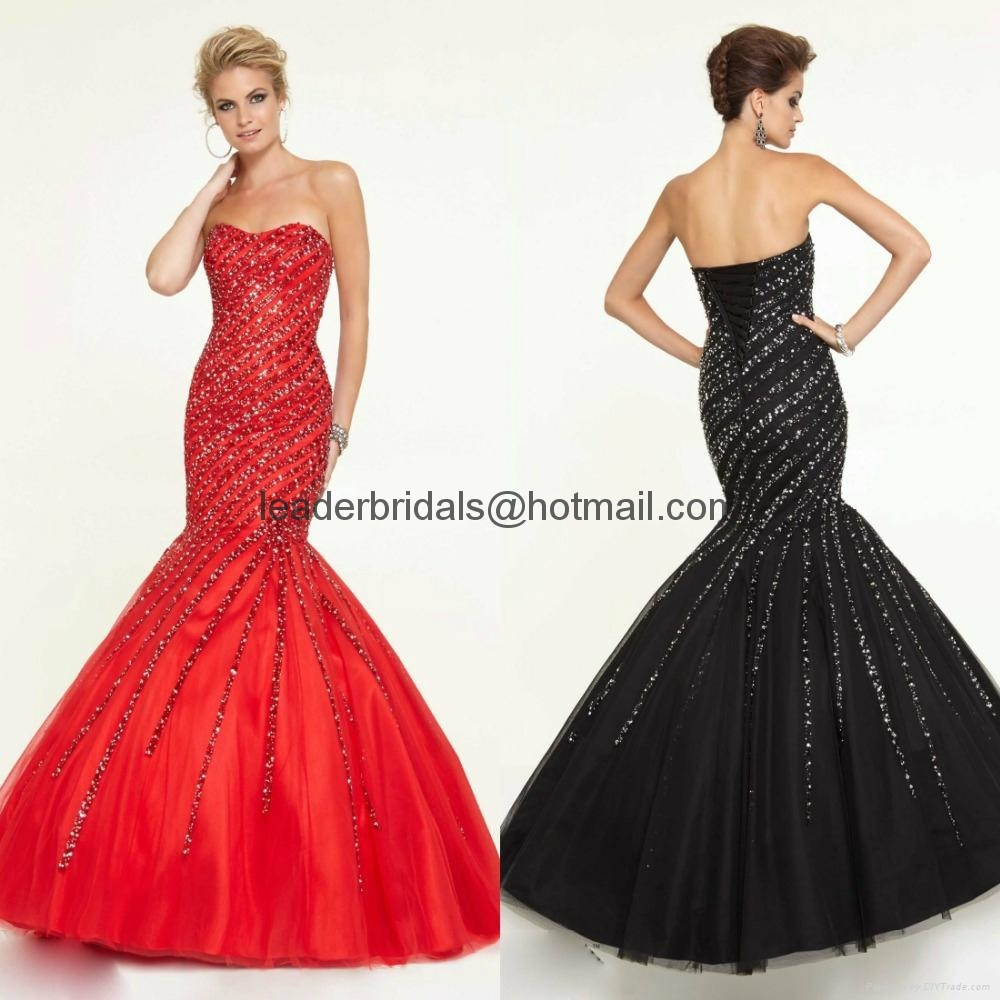 Sweetheart Beads Prom Dresses Red Black Sequins Tulle Party Evening ...