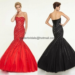 Sweetheart Beads Prom Dresses Red Black Sequins Tulle Party Evening Gowns E364