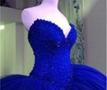 Crystals Beads Prom Dresses  Pageant Blue Custom Prom Party Dresses  3