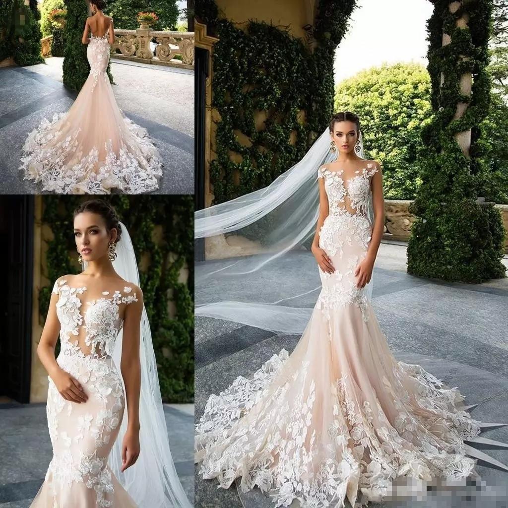Sleeveless Lace Wedding Dresses 2018 Mermaid Tulle Custom Luxury
