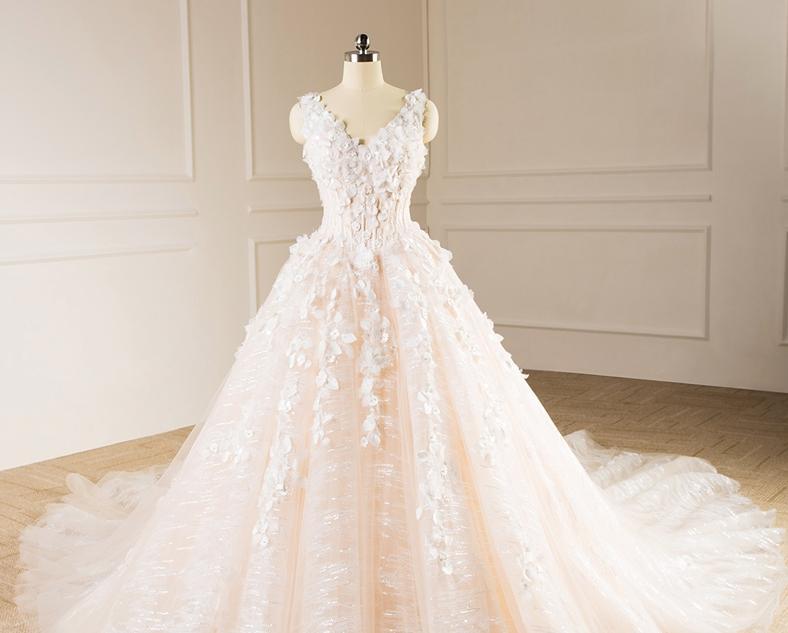 Sleeveless V-neck Bridal Dresses Lace Tulle Champagne Custom Wedding Gown E229 1